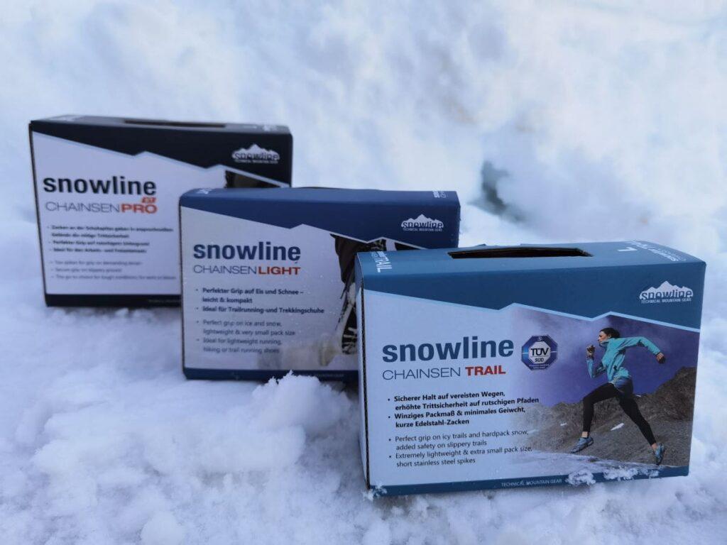 Diese 3 snowline Spikes Modelle untersuche ich in meinem Grödel Test